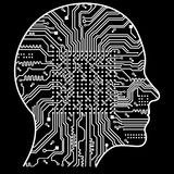Artificial Intelligence. The image of human head outlines, inside of which there is an abstract circuit board.  Royalty Free Stock Image