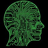 Artificial Intelligence. The image of human head outlines, inside of which there is an abstract circuit board.  Royalty Free Stock Images