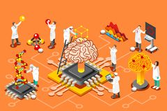 Artificial intelligence isometric images for Hero Images. Brain with chip, artificial intelligence and human science research. Isometric images can use for web Royalty Free Stock Photography