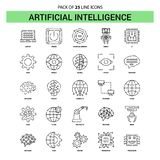 Artificial Intelligence Line Icon Set - 25 Dashed Outline Style. This Vector EPS 10 illustration is best for print media, web design, application design user stock illustration