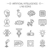 Artificial Intelligence Line Icon Set Royalty Free Stock Images