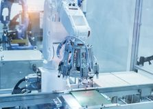 Artificial intelligence machine. At industrial manufacture factory