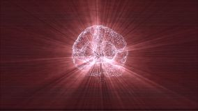 Digital brain made of beaming particles floating in black space and illuminating with red light rays.