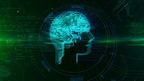 Artificial intelligence head shape on digital background. Artificial intelligence, machine learning and cybernetic brain concept animation. Working cyber head royalty free illustration