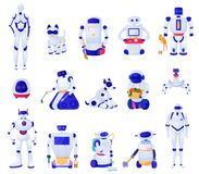 Artificial Intelligence Machines Set. Set of artificial intelligence machines of various shape robots pets and household helpers isolated vector illustration royalty free illustration