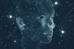 Artificial intelligence and mind backdrop. Abstract binary code human head backdrop. Artificial intelligence and mind concept. 3D Rendering Royalty Free Stock Photos