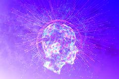 Artificial intelligence and mind concept. Abstract glowing polygonal head background with neurons. Artificial intelligence and mind concept. 3D Rendering Royalty Free Stock Images