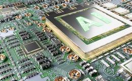 Artificial Intelligence in a modern GPU card 3D rendering. Artificial Intelligence in a complex and modern GPU card 3D rendering royalty free illustration