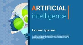 Artificial Intelligence Modern Robot Brain Technology. Flat Vector Illustration Stock Image