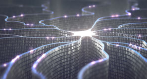 Artificial Intelligence Neural Network. Artificial neuron in concept of artificial intelligence. Wall-shaped binary codes make transmission lines of pulses and/ Stock Photos