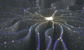 Artificial Intelligence Neural Network. Artificial neuron in concept of artificial intelligence. Wall-shaped binary codes make transmission lines of pulses and/ Stock Images