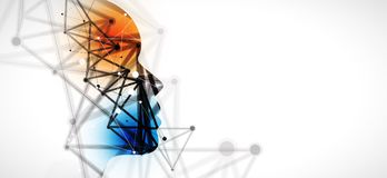 Artificial intelligence neuro style. Technology web background. Virtual conc Stock Photography