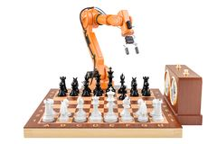 Artificial Intelligence playing chess concept, 3D rendering vector illustration