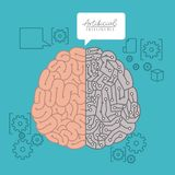 Artificial intelligence poster with human hybrid brain top view over light blue background. Vector illustration Royalty Free Stock Image