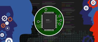 Artificial intelligence programming code. Human head outline with circuit board chip processor inside. Technology and royalty free illustration