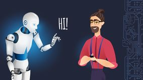Artificial Intelligence Robot Greets Smiling Man. Male Communicate With Cybernetic Plastic Organism. Augmented Reality Future Industrial Revolution. Flat vector illustration