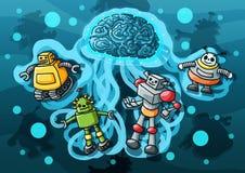 Artificial Intelligence Robot paint stock illustration