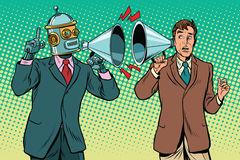 Artificial intelligence robot speaks to the human. Vintage pop art retro illustration. Computer and new technology Royalty Free Stock Photos