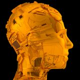 Artificial intelligence and robotics. Robotic head sideview and artificial intelligence made out of technical stuff Stock Image