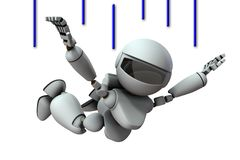 Free Artificial Intelligence Robots Are Plunging. White Background. 3D Illustration Royalty Free Stock Photos - 162160278