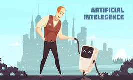Artificial Intelligence Robots Assistants Illustration Royalty Free Stock Photo