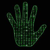 Artificial Intelligence. Silhouette of a man hand palm, inside which binary code. It can illustrate scientific ideas. Artificial neural networks, deep learning Stock Photography