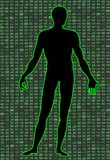 Artificial Intelligence. Silhouette of a man body, inside which binary code. It can illustrate scientific ideas. Artificial Intelligence. Silhouette of a mans Royalty Free Stock Photography