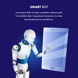 Artificial Intelligence Smart Bot Point Tablet. Futuristic Robot Character Work by Electronic Laptop. Future Modern Technology. Intelligent Cyborg. Realistic royalty free illustration