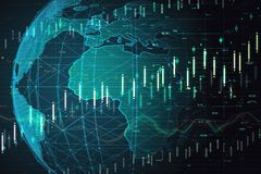 Artificial intelligence and stats concept. Creative globe with glowing forex chart. Artificial intelligence and stats concept. 3D Rendering royalty free illustration