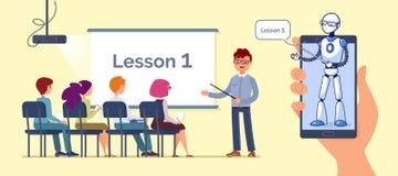 Artificial Intelligence. Teacher bot concept vector illustration