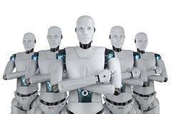 Artificial intelligence teamwork. 3d rendering group of artificial intelligence robot for teamwork