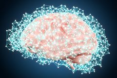 Artificial intelligence technology concept with brain, 3D render. Artificial intelligence technology concept with brain, 3D Stock Images