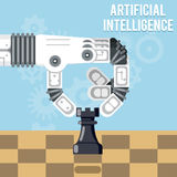 Artificial intelligence technology. Robot hand plays chess vector illustration Royalty Free Stock Images