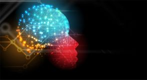 Artificial intelligence. Technology web background. Virtual conc Stock Images