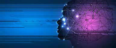 Free Artificial Intelligence. Technology Web Background. Virtual Conc Stock Photography - 124437712