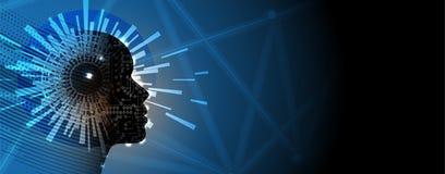 Artificial intelligence. Technology web background. Virtual conc Stock Photo