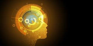 Artificial intelligence. Technology web background. Virtual conc Royalty Free Stock Photos