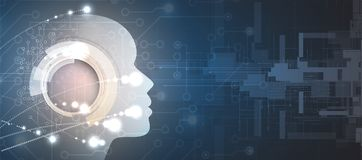 Artificial intelligence. Technology web background. Virtual conc Stock Image