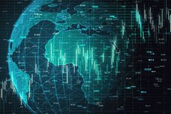 Artificial intelligence and trade concept. Creative globe with glowing forex chart. Artificial intelligence and trade concept. 3D Rendering royalty free illustration