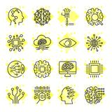 Artificial Intelligence Vector Icons. Icons for sites, apps, programs AI, chip, brain, processor and other. Editable Stroke. Royalty Free Stock Image