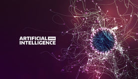 Artificial intelligence vector illustration. Turbulence flow trail. Futuristic background. For banner Royalty Free Stock Photography