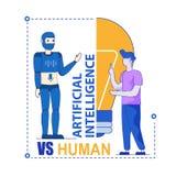 Artificial Intelligence Versus Human Competition. Man VS Machine. Artificial Intelligence Versus Human. Conversation, Dispute of Human and Humanoid Robot stock illustration