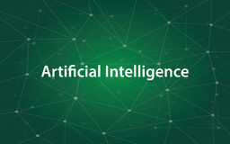 Artificial intelligence white tetx illustration with green constellation map as background royalty free illustration