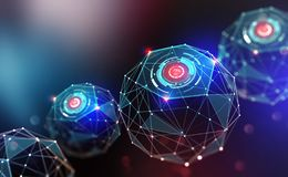 Artificial intelligence and wireless technology. Global digital network. Internet data security. 3d illustration of polygonal objects with elements of HUD