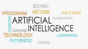 Artificial intelligence word cloud concept.  royalty free illustration