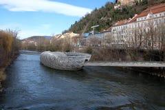 An artificial island on the Mur river in Graz, Austria Stock Image