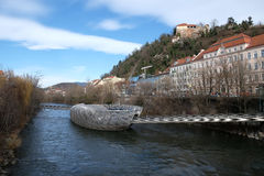 An artificial island on the Mur river in Graz, Austria Royalty Free Stock Photo