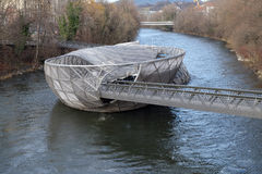 An artificial island on the Mur river in Graz, Austria Stock Images