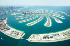 Aerial View Of Palm Island In Dubai royalty free stock images