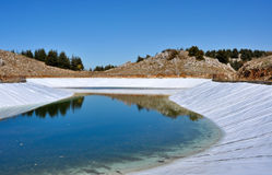 Artificial lake 0027. An artificial lake in Lebanon mountains for storing water in case of long periods of dryness Stock Photos
